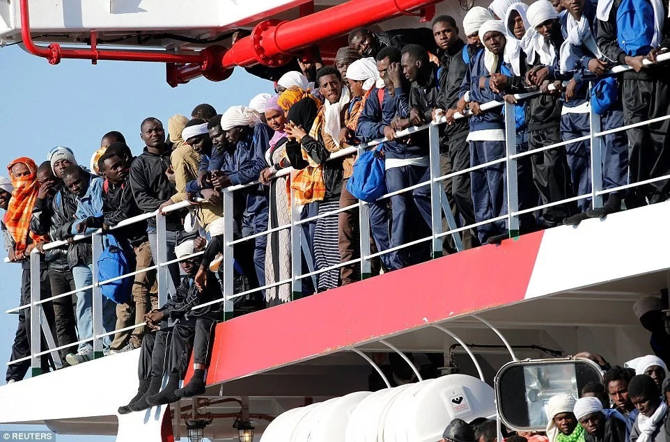 The migrants had been rescued in the Mediterranean sea aboard small and shaky vessels
