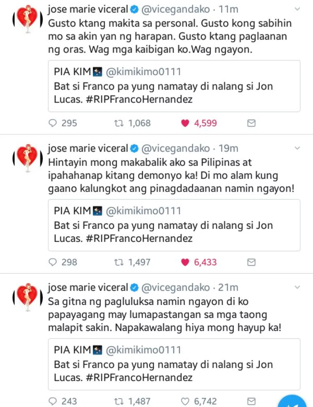 Vice Ganda claims that he knows all the basic info about the netizen who wished Jon Lucas dead instead of Franco