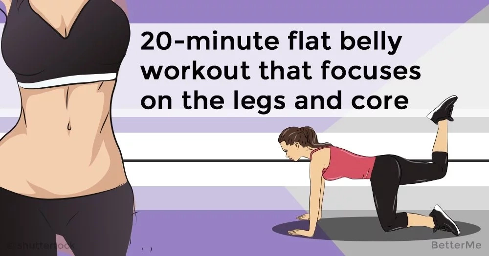 20-minute flat belly workout that focuses on the legs and core