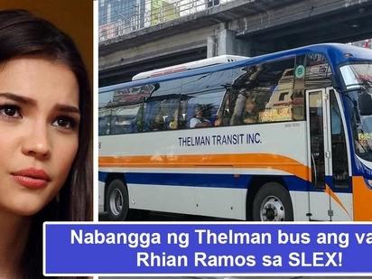 Na hit and run sila! Rhian Ramos van na-sideswipe ng bus sa SLEX, driver ng bus kumaripas ng takbo