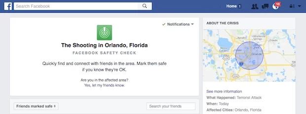 "Facebook activated ""Safety Check"" function for the first time in US"