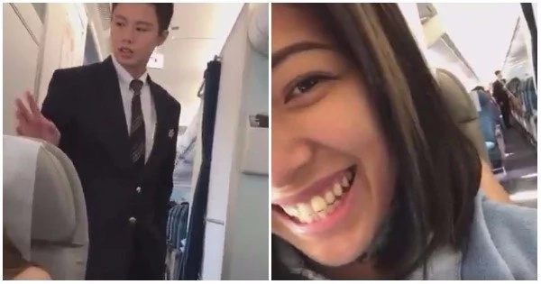 VIRAL: Watch this video of a female passenger who found the guy version of the viral pretty Flight Attendant and recorded him on video!
