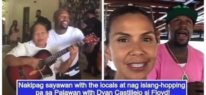 Floyd Mayweather nag-island hopping sa Palawan kasama si Dyan Castillejo; nakipag-sayawan pa sa mga Pinay!