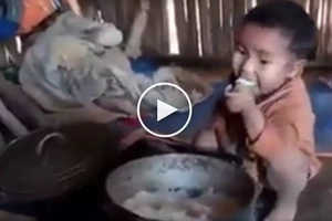 Nakaka-iyak na video! Kawawang bata na kumakain ng kaning walang ulam nag viral
