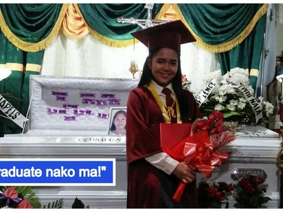 Ang sakit sa puso! Netizens are heartbroken after graduating student poses in front of mother's casket in viral photo