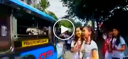 Naughty Filipina high school students suffer painful accident while pranking jeepney driver