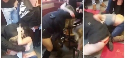 Catfight! 4 women flash their underpants in messy catfight in front of laughing men (see photos, video)