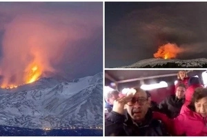 See terrifying moment tourists are pelted with BOILING rocks as volcanic mountain erupts (photos, video)