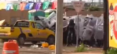 Mexican Truck Driver Goes Berserk And Drives Into Police When He Sees The New Gas Prices