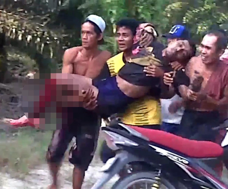 People scream in horror as crocodile tears man's leg off