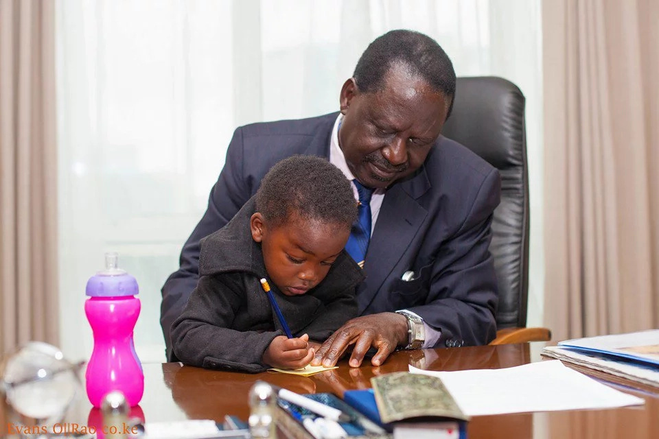 Raila Odinga spends time with grand-daughter in his office