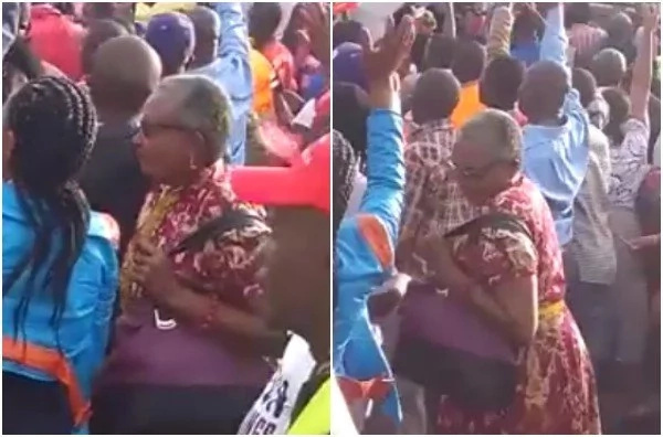 First Lady Margaret Kenyatta abandoned by security at Uhuru campaign (video)