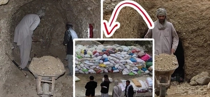 This tunnel is used for storing the most precious thing in the world for these men. Check what's inside these bags that are so carefully stored inside