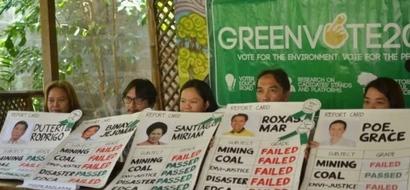 Environmentalists score prexy bets: Miriam tops, Binay, Mar flunk