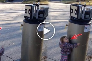 "This adorable toddler thinks discarded water heater is a robot. Now her 'I wuv u robot"" is melting hearts around the world!"