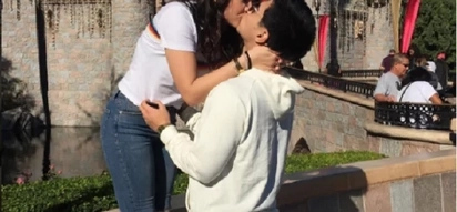 Sa wakas! Albie Casiño PDA with gf at Disneyland
