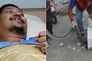 Python bites man's p*nis (photos)