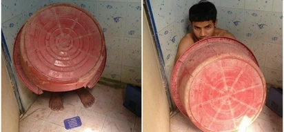 Idiot drug dealer hides under a bucket as police swoop in