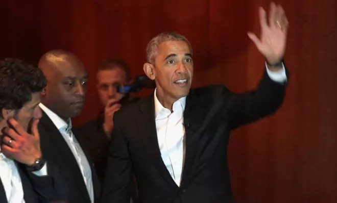Obama at hs first public engagement on Monday since leaving office