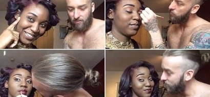 Rocker boyfriend applies makeup like an EXPERT amazing his girlfriend and internet (photos, video)