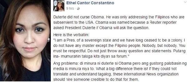 Netizen said President Rodrigo Duterte didn't curse Obama