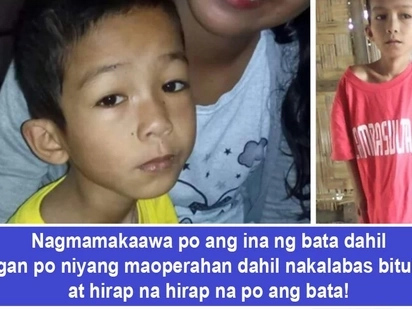 Nakalabas bituka nya! Mother of child desperately in need of colostomy surgery turns to social media in hopes of finding a good Samaritan