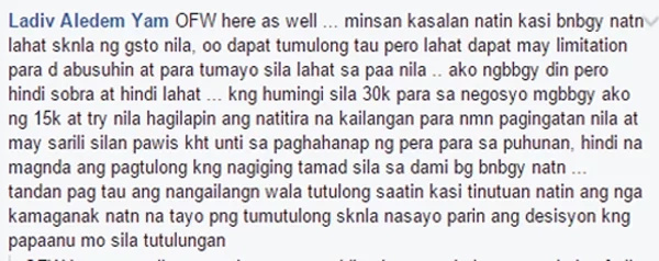 comment from Facebook