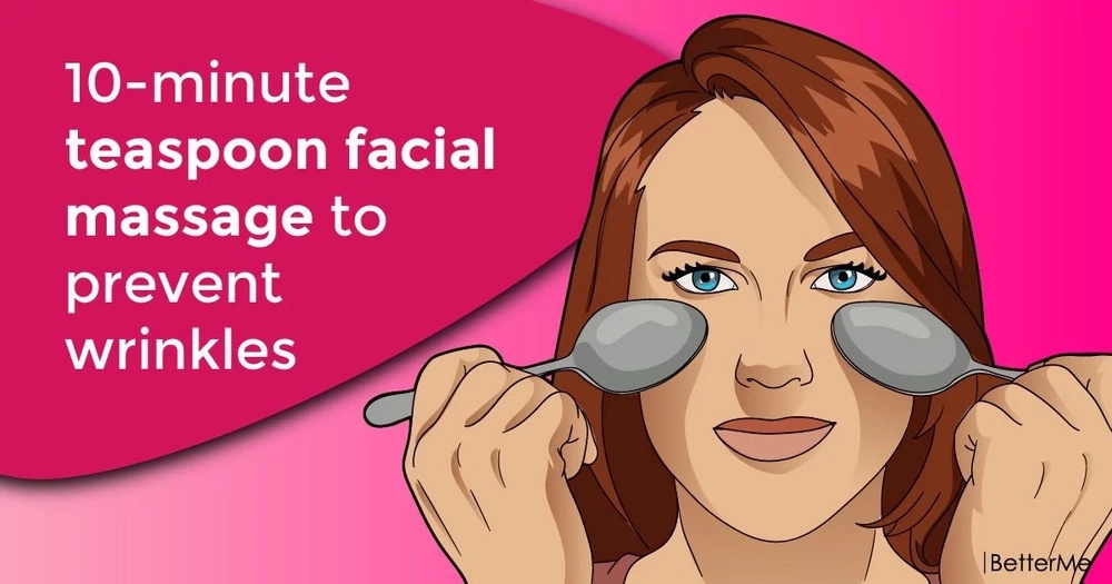 10-minute teaspoon facial massage to prevent wrinkles