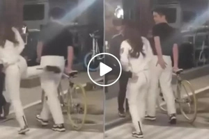 Naughty Julia Barreto gives Joshua Garcia a solid kick on the bun