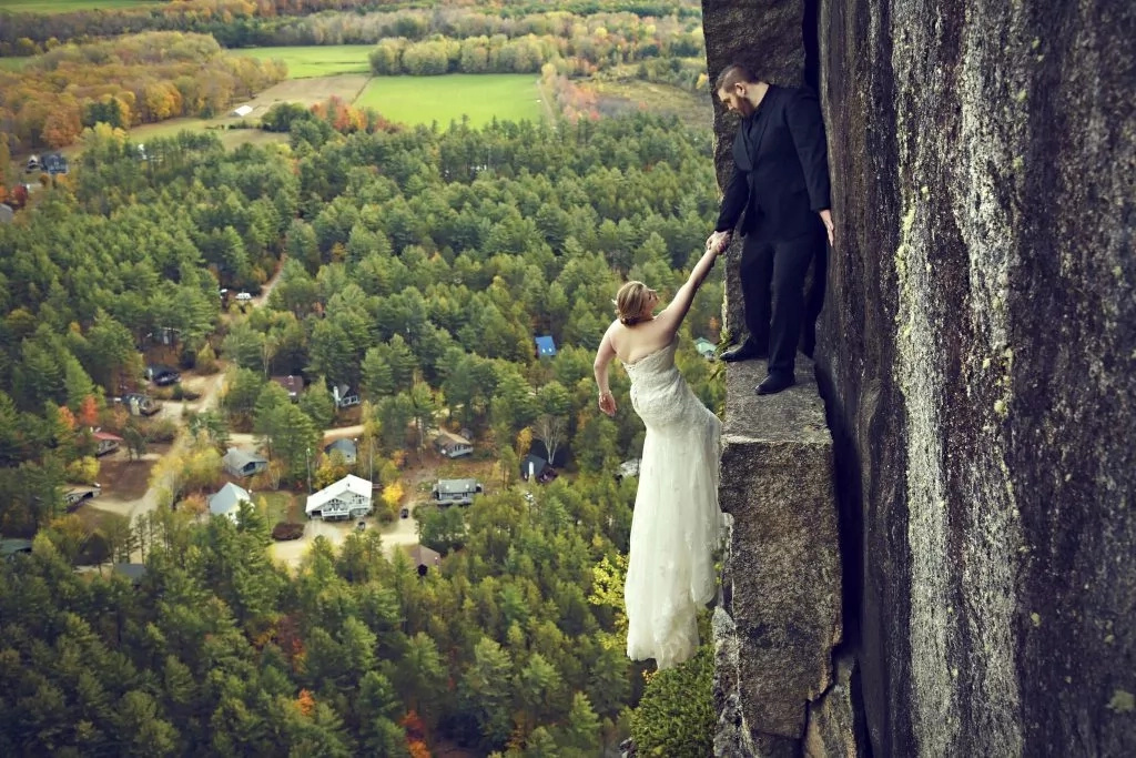Daredevil wedding photoshoot. Photo: Caters News Agency