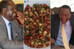 Presidential aspirant eating Matumbo-Githeri in a kibanda (photos)