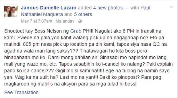 Netizen vents frustration on FB about unscrupulous Grab driver