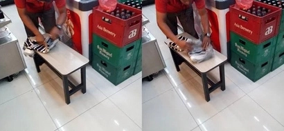 Poor old night shift taxi driver proves 'may forever' as he wraps wife's gift at convenience store at 5 a.m.