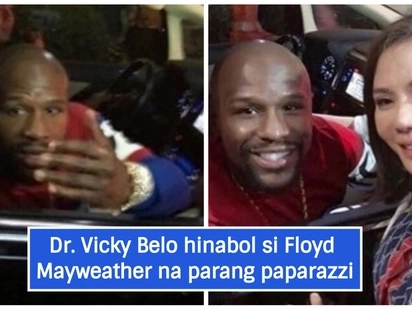 Vicky Belo runs after Floyd Mayweather for a photo op like a paparazzi