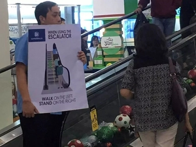 Ayan kase ayaw makinig! SM takes the lead in pushing for escalator etiquette