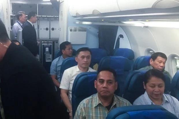 Duterte flies to Manila in economy class