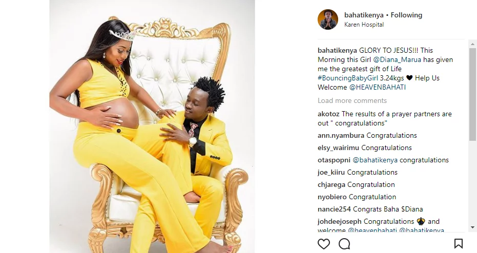 Singer Bahati's wife gives birth to a bouncing baby girl