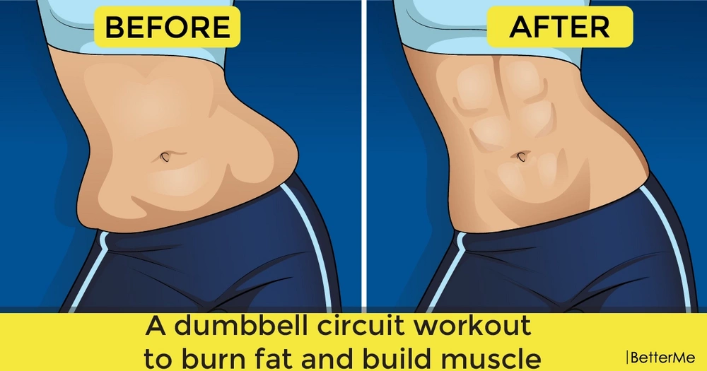 A dumbbell circuit workout to reduce fat and build muscle