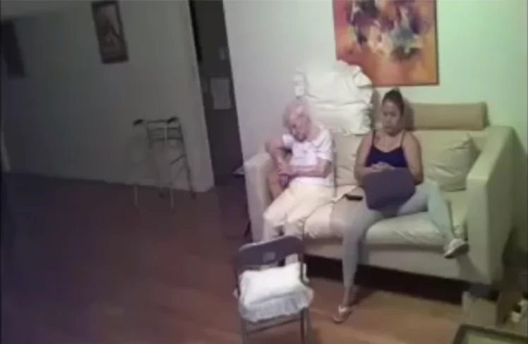 The daughter caught on the hidden camera the carer who attacked her 94-year-old sick mother