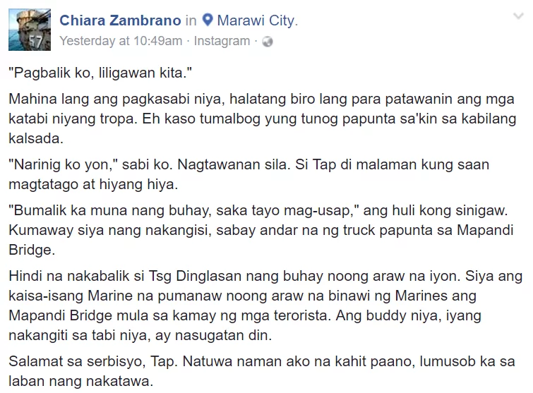 """Pagbalik ko liligawan kita.""This Soldier in Marawi's Final Message Will Break Your Heart"