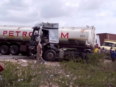 NASTY accident after petrol tanker collides with passenger bus