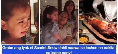 Naawa sa lechon! Viral video of Scarlet Snow Belo crying hard when she saw the lechon being chopped