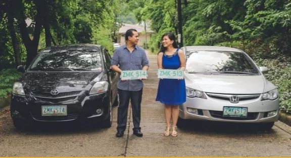 Couple weds after a license plate love story