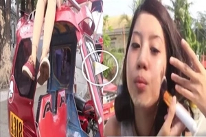 Watch the pretty pinay putting makeup on top of the moving tricyle. Didn't she fall down? Find out!