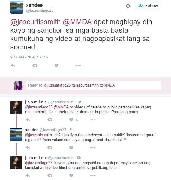 Jasmine Curtis-Smith reports urinating man in public to MMDA