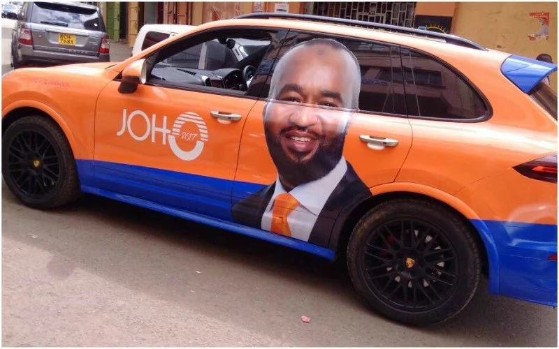 Crazy about Hassan Joho! Supporter brands expensive car with governor's campaign merchandise