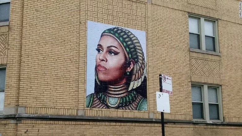 Devins painted the mural on a building a few blocks from where Michelle Obama grew up