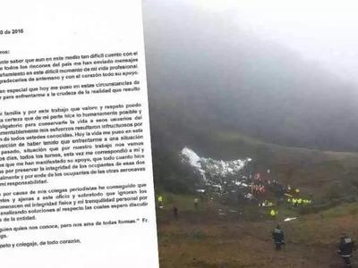 La maravillosa carta de una periodista brasileña sobre el accidente aéreo del Chapecoense