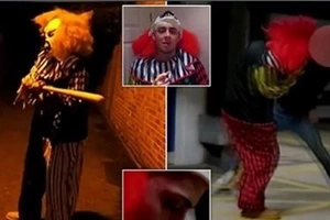 Killer Clown armed with a baseball bat gets HEADBUTTED (Video)