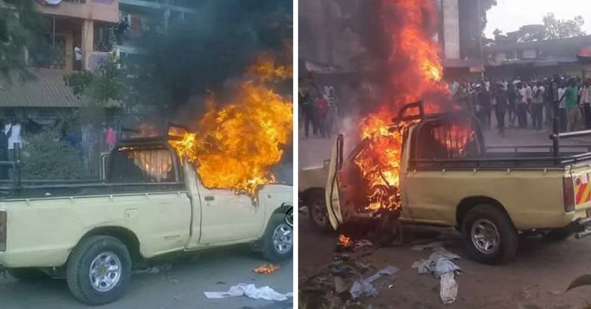Vehicle burnt by angry youth in Mathare